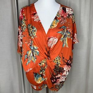 Umgee Twist Front Floral Pullover Top Sz Small